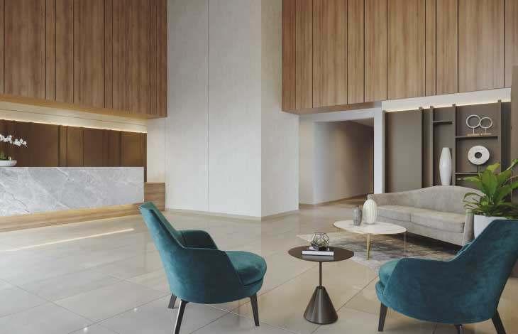 lobby edificio proyecto faisanes actual inmobiliaria