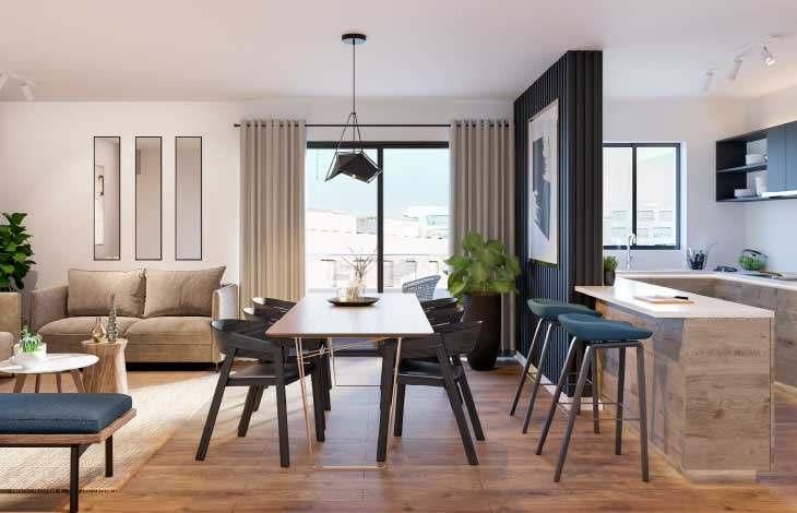 sala comedor cocina actual inmobiliaria
